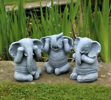 3 Wise Elephants Garden Ornaments Decorative Outdoor Hear, See And Speak No Evil