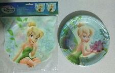 1x 8pk Disney Fairies Paper Plate & 1 x 3m Plastic Birthday Party Flag Banner
