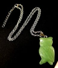 1 Natural Green Aventurine Gemstone Owl Pendant Necklace with Chain #1589