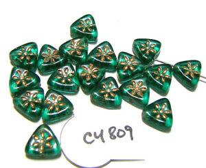 Czech Glass Triangle w/ Flower Bead GREEN w/ GOLD 10mm Lot of 18  C4809