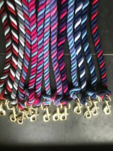 TWO AND THREE TONE TASSEL END LEAD ROPE WITH TRIGGER CLIP VARIOUS COLOURS