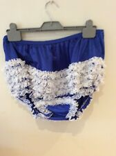 SEXY ROYAL BLUE wITH WHITE LACE   RUMBA, SISSY, SQUARE DANCE, AB   PANTIES  Xl