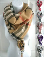 new women men PLAID/CHECK print pashmina long scarf stole wrap shawl cape