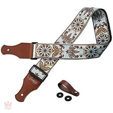 Vintage Guitar Strap Woven Hippie Brown Leather Tooled Electric Acoustic Buttons