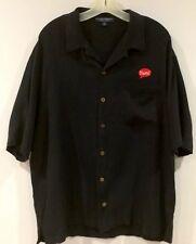 Yum Brands KFC Taco Bell Pizza Hut Mens Silk Shirt Jet Black Button Down Size XL