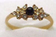 Bijou Vintage bague vintage plaqué or zircon diamant perle noir nacré T. 59.5 p