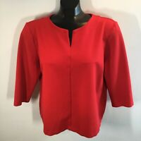 Talbots Women's Petite XL Pullover V-Neck Shirt Red Jersey Knit 3/4 Sleeves Top