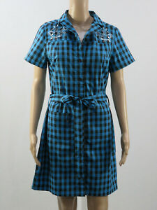 Sourpuss blue checkered stretch dress. Size M. Embroidered flower & swallows.