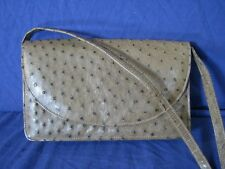 CORBEAU New VINTAGE FULL QUILL Ostrich Leather ENVELOPE Opt.Strap PURSE Brown