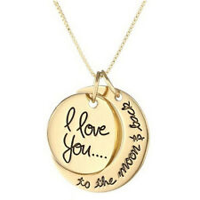 Charm Necklace I Love You To The Moon And Back Pendants Necklace Jewelry FU