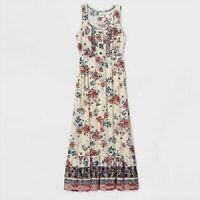 Women's Floral Flowers Print Sleeveless Dress Knox Rose Ivory XXL
