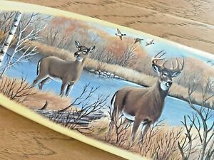 """'Whitetail Deer' Scene on a 36"""" Wooden Canoe Paddle by Nancy Luloff"""