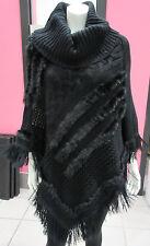Genuine Fur Poncho Fits S M L XL 1X 2X Plus Black Sweater Long with Fringe NWT