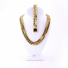 Mens Large Thick 14K Gold Plated Miami Cuban Chain And Bracelet Set 18mm JayZ