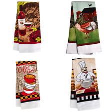 """Large Absorbent Theme Printed Kitchen Towels Chef Coffee Wine Rooster 15x25"""""""