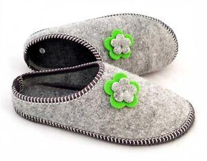 B58 DAMEN Filz Pantoffeln - Filz Hausschuhe sohle aus Gummi Noppen