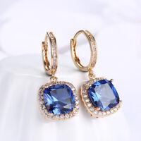 Women Blue Crystal Dangle Hoop Earrings with Swarovski Crystals