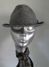 GREY WOOL HERRINGBONE TRILBY HAT ST MICHAEL MARKS AND SPENCER M