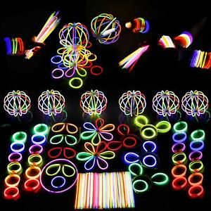 "6"" 8"" Glow Sticks Premium Bracelets Neon Necklaces Birthday Rave Party Favour"