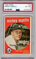 1959 Topps #10 Mickey Mantle - HOF - Yankees - PSA 6 - EXMT - 27702402 - (SCA)