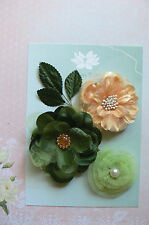 FOREST TIMES 3 Flower Mix Designs SATIN LACE 3 Leaves 50-75mm across Green Tara