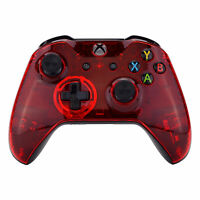 Transparent Red Faceplate Front Housing Shell Case for Xbox One X S Controller