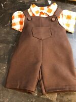 Vintage Boy Doll Orange Brown Overalls & Shirt Outfit Cabbage Patch Dolls Bears