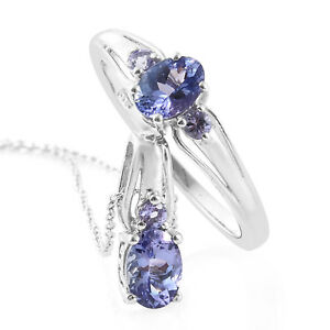 """Tanzanite Platinum over Sterling Silver ring size 10 and pendant with chain 20"""""""
