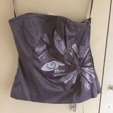 Stunning COAST 100% silk strapless embroidered & beaded bustier size 10
