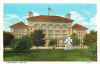 York Pennsylvania~High School~Statue with Cross~Trees 1920 Postcard