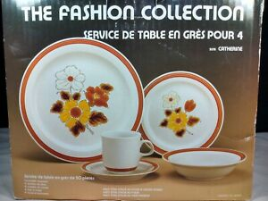 Vintage JAPAN The Fashion Collection Stoneware Catherine New In Box Service × 4