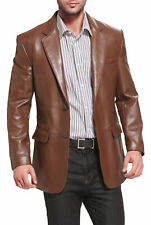 Hombre Cuero Genuino Piel de Cordero Artesanía Blazer Abrigo Chaqueta Marrón Suave de dos botones
