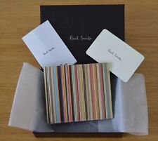 PAUL SMITH multi coloured Multistripe Signature Stripe leather billfold wallet