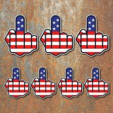 Joke Finger Sticker Set USA American flag rude Guitar ipad car motorbike decal M