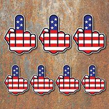 Joke Finger Sticker Set USA American flag rude Guitar ipad car motorbike decal M