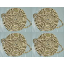 4 Pack of 1/2 x 15 Ft Gold & White Double Braid Nylon Mooring and Docking Lines