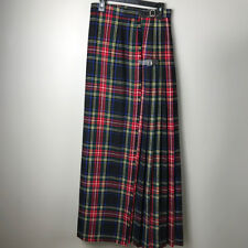 Moffat Woollens Women's Scottish Wool Kilt Blue Green Red  XXS 0-2 sz 36 long