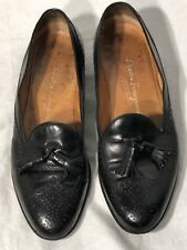 Salvatore Ferragamo Black Leather Wing Tip Tassel Dress Loafer 10.5 D Italy