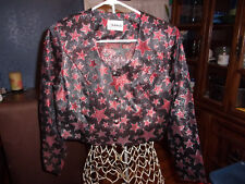 Women's Banjo Western Pleasure Show Jacket  With Metallic Red Stars Size Medium