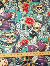 ZEN CHARMER ORIENTAL CURSE BY ALEXANDER HENRY COTTON FABRIC CLOTHING DECOR BTY