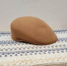 Ethos 100% Tan Wool Flat Cap Newsboy Cabbie Hat Baker Boy Hat size XL