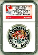 2015 S$10 Canada FIFA Women's World Cup Go Canada Go Colorized ER NGC PF70 UC