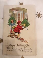 """Vintage Christmas Card """"Merry Christmas To You"""" Children Horn Drum 12/23/1915"""