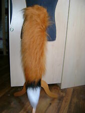 Chestnut Luxury Fur Fox Tail With White / Black Luxury Faux Fur Trim Fancy Dress