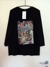 ELLBI Damen Shirt Motiv Gr. 38 NEU! schwarz Strass Chiffon-Ärmel