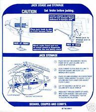 1968   GTO/TEMPEST/LEMANS JACK INSTRUCTION DECAL
