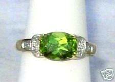 10K Gold Peridot & Diamond Ring,