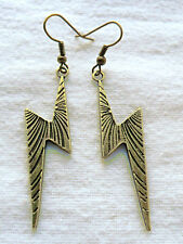 Dangle earrings - 48mm bronze colour zigzag, lightning