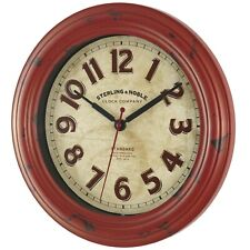 """Wall Clock Round Home Office Kitchen 11.5"""" Red Vintage Decor, Rustic Farmhouse"""