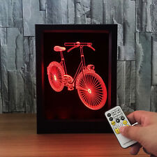 Bicycle 3D Picture Frame Night Light 7 Color LED Touch Switch Table Desk Lamp